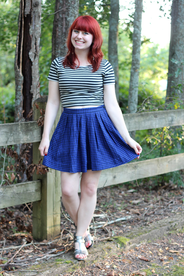 Striped crop top & houndstooth skater skirt