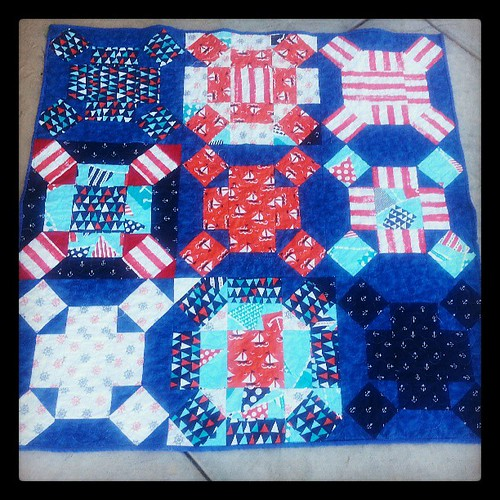 Baby boy nautical quilt. First quilt from my birthday stash.