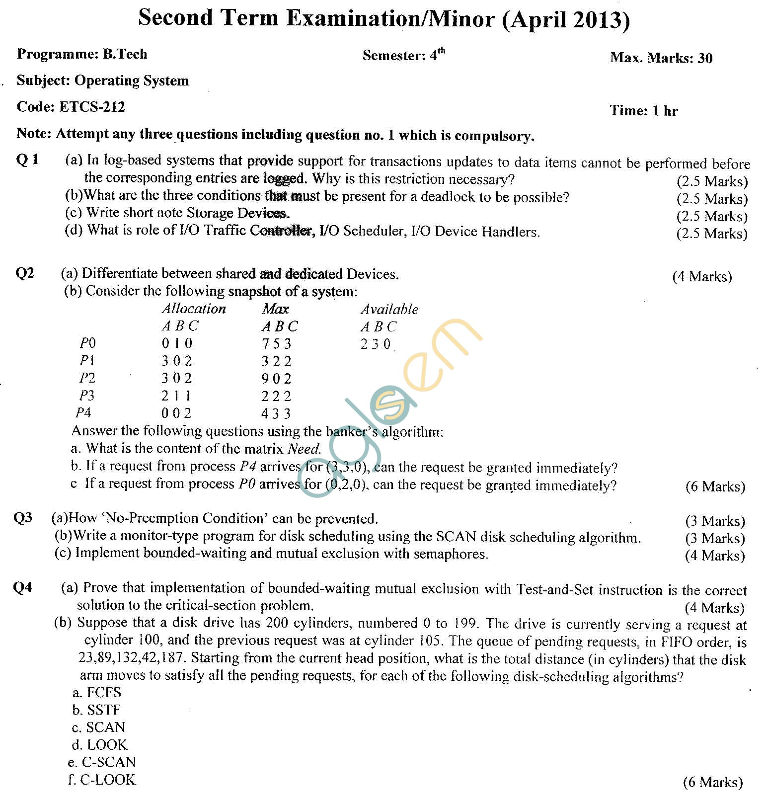 GGSIPU Question Papers Fourth Semester – Second Term 2013 – ETCS-212
