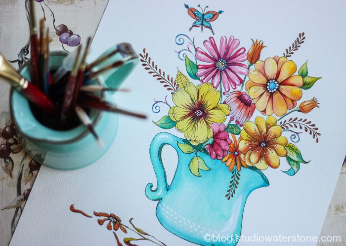 my sketchbook: floral with turquoise vase