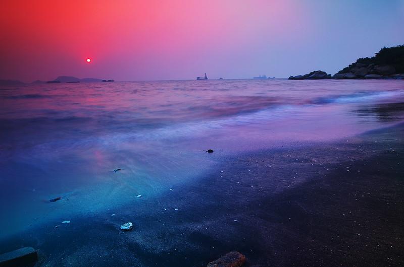 色彩變幻的龍鼓灘日落
