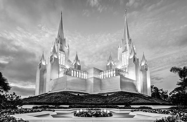 San Diego Temple Black & White