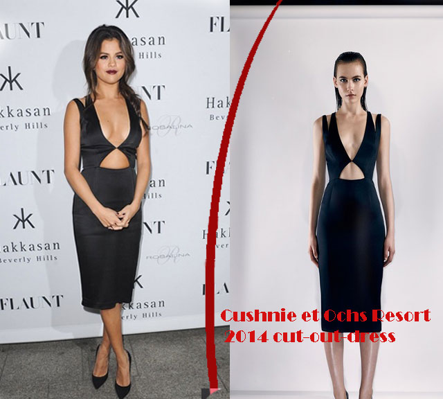 Cushnie-et-Ochs-Resort-2014-cut-out-dress, Selena Gomez in black Cushnie et Ochs Resort 2014 cut out dress, Selena Gomez, black