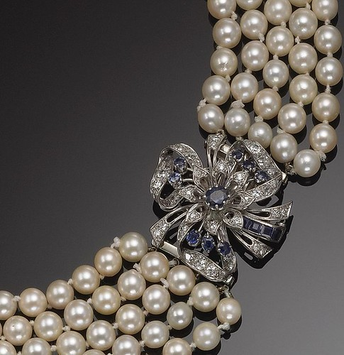 GOLD, CULTURED PEARL, SAPPHIRE AND DIAMOND NECKLACE.
