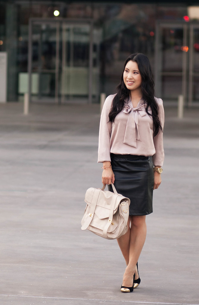 cute & little blog | pink bow top, leather pencil skirt, fall trend, outfit, petite fashion