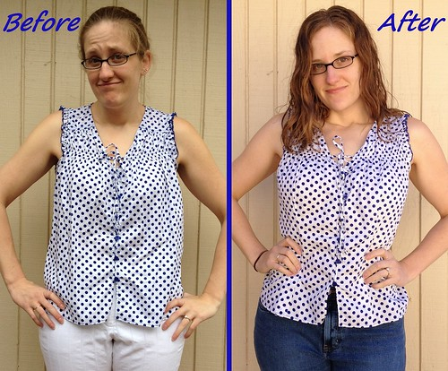 Cobalt Polka Dot Top - Before & After