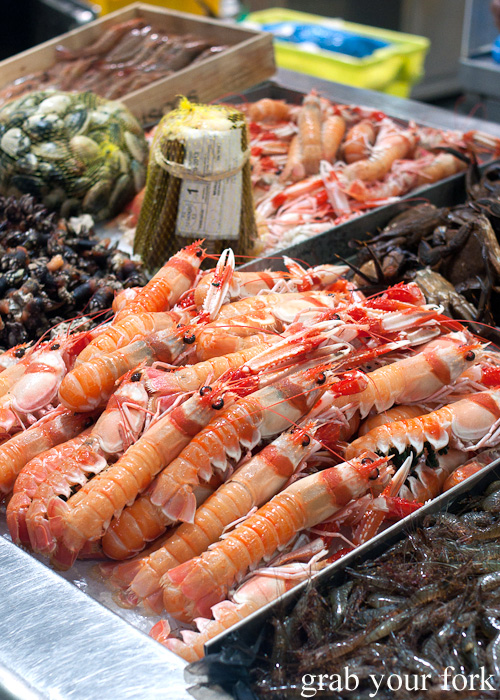 Langoustines at Plaza de Lugo Fish Market in A Coruna, Galicia, Spain