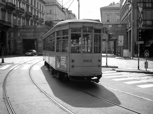 <p>Tram in the centre of Milan</p>