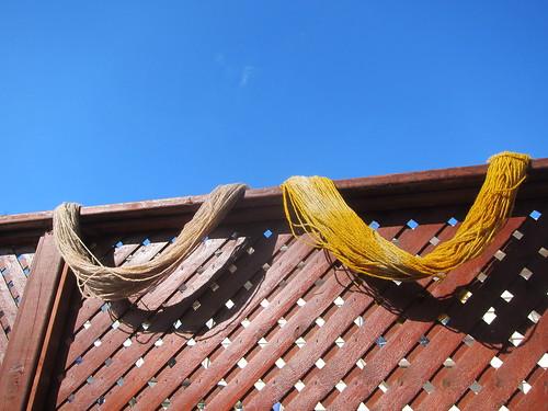 Black tea and turmeric drying outside