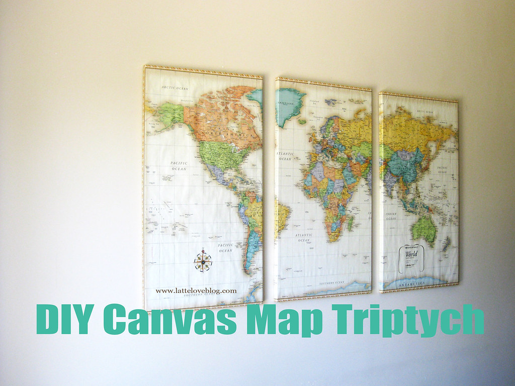 DIY: World Map Wrapped Canvas Triptych | Latte Love Blog