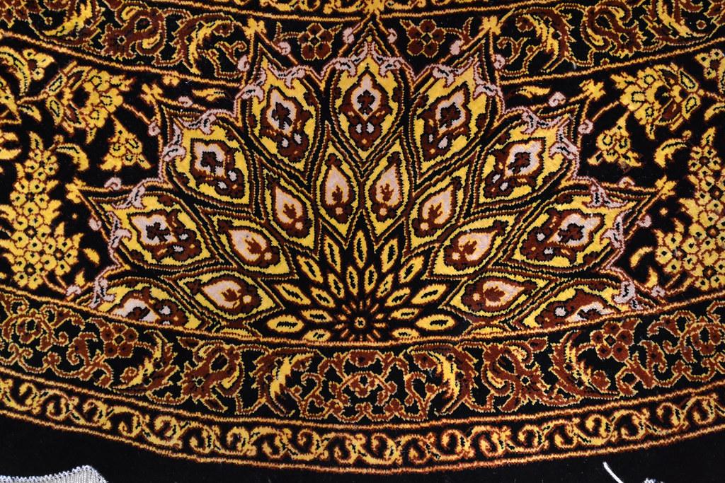 Versace Design Balck & Gold Qum Silk Rug