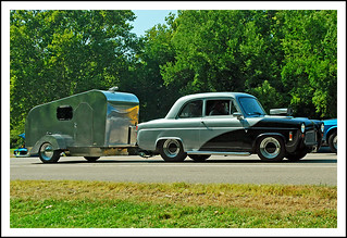 Ford Anglia with retro camper trailer