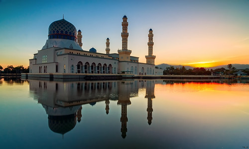 sunrise landscapes floating mosque borneo sabah