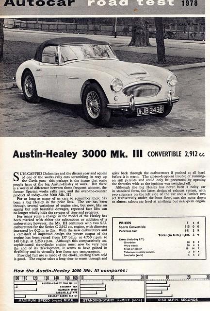Austin Healey 3000 Mk III Convertible Road Test 1964 (1)
