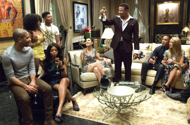 "TV STILL -- DO NOT PURGE -- EMPIRE: Lucious (Terrence Howard) toasts his family in the ""Devil Quotes Scripture"" episode airing Wednesday, Jan. 21 (9:00-10:00 PM ET/PT) on FOX. Pictured L-R: Jussie Smollett, Serayah McNeill, Taraji P. Henson, Bryshere Gray"