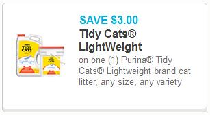 photograph regarding Cat Litter Printable Coupons identified as Tidy Cats Light-weight Clutter $6.99 at Menards with Printable