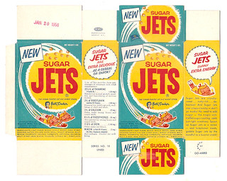 Old Vintage 1957 1958 1950's General Mills Sugar Jets Single Serve Cereal Box