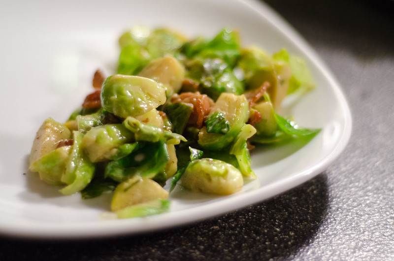 brussels sprouts with bacon and mustard cream sauce