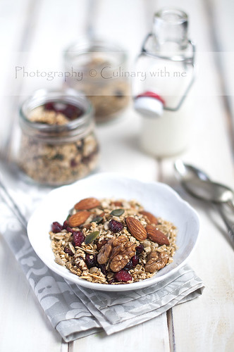 Coconut granola with maple syrup
