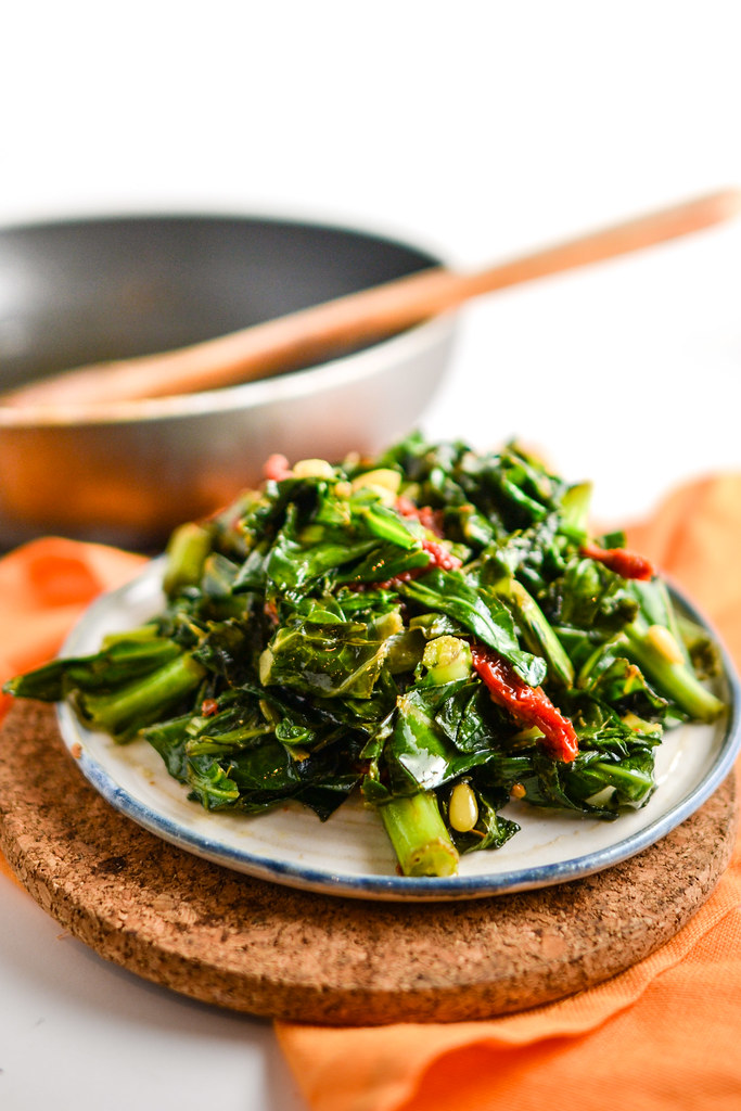 Collard Greens with Sun Dried Tomatoes and Pine Nuts | Things I Made Today