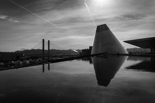 blackandwhite bw reflection chihuly reflections washington pacificnorthwest tacoma mtrainier museumofglass tacomadome westernwashington nex6 sel1650