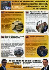 Liberal Democrat NO leaflet on behalf of Mike Crockart MP and Alex Cole Hamilton. 2014.