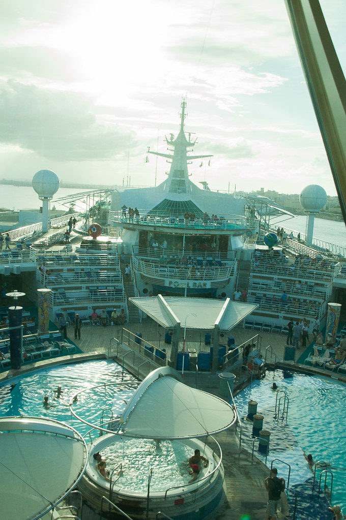 Pools during the day on the cruise ship