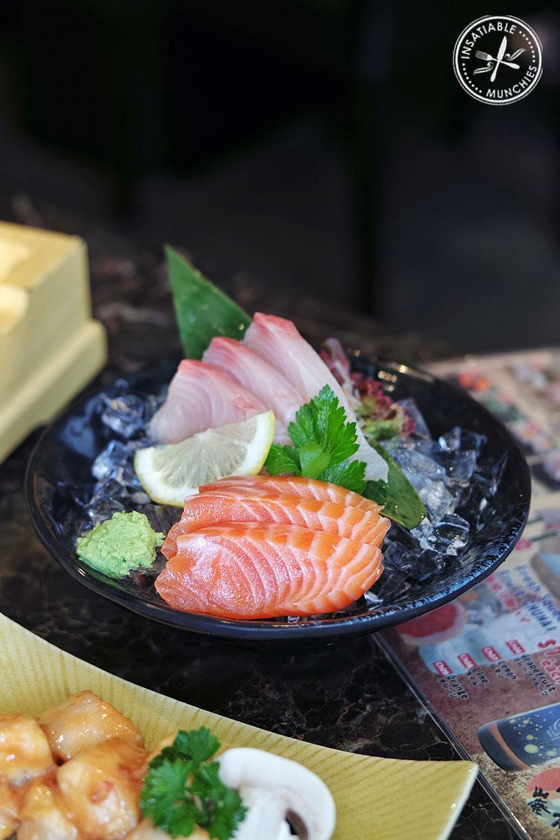 Salmon and Kingfish Sashimi, $9.00
