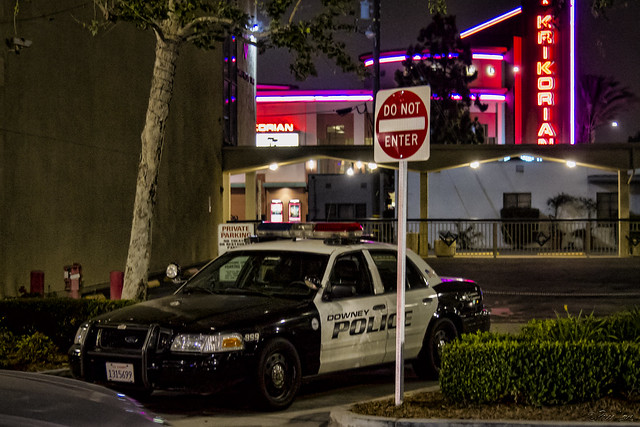 Police in downtown Downey