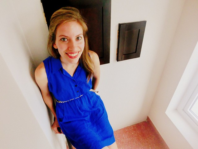 Royal blue dress with a braided belt