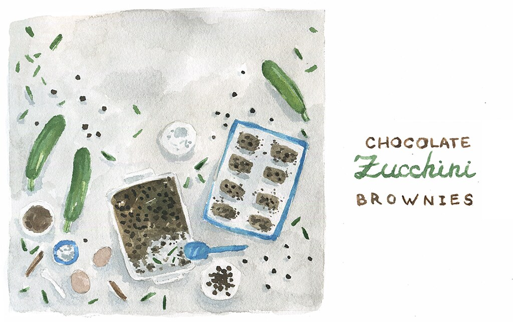 zucchini chocolate brownies watercolor art recipe by Dara Muscat