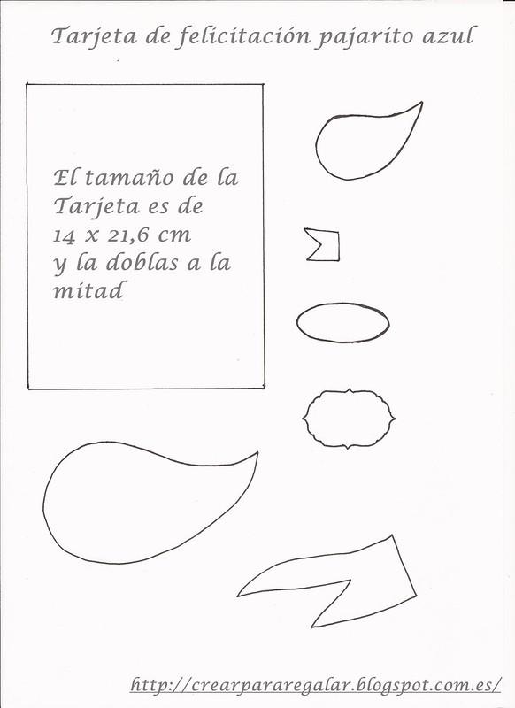 Plantilla tarjeta felicitacion pajarito azul