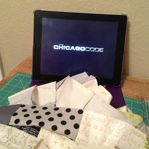 184:365 Found out today I'm headed to Chicago in a few weeks. Seemed fitting to watch The Chicago Code while sewing tonight.