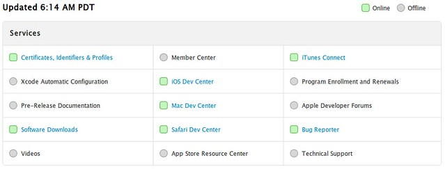 Apple Devcenter státusz 2013. 07. 27.