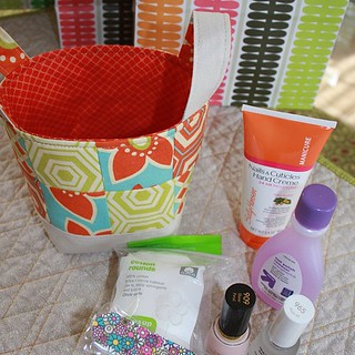 Cute little Zakka style fabric basket. These were our end of school teacher gifts... Full of goodies for those Monday Manicures. #pinkpenguin #zakka #mondaymanicure