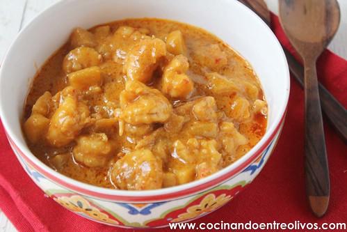 Gambones con manzana y leche de coco www.cocinandoentreolivos (13)