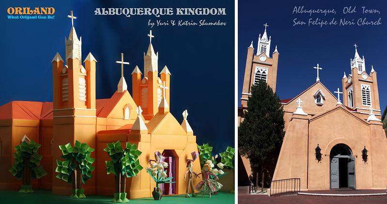 Albuquerque Old Town Church: Origami Version & The Original (2013_10_08_EOS_5645)