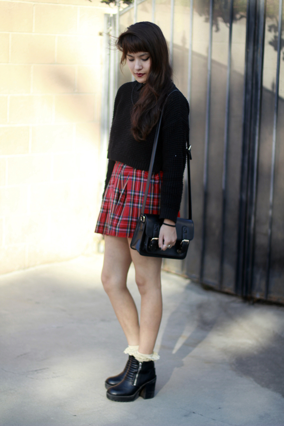 Shoptarte Tarte Vintage tartan plaid pleated skirt, Topshop Cropped waffle knit sweater, moto boots with frilly socks