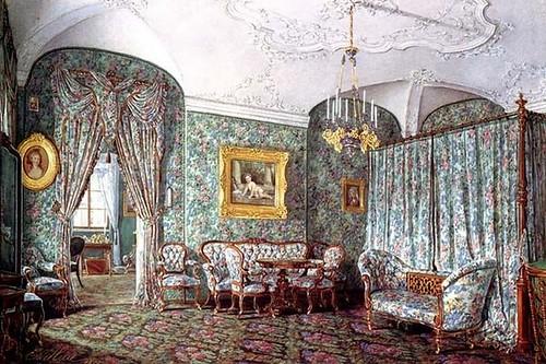 Э.П. Гау 1879 г. «Ситцевая спальня в гатчинском дворце с мебелью. 1858 год»