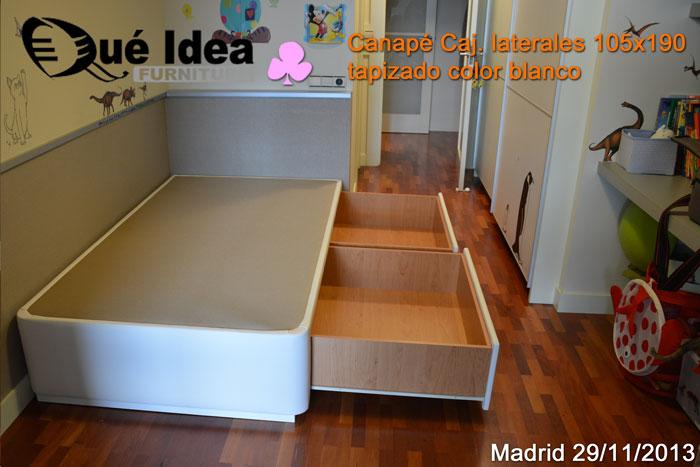 Canap de cajones mod cajones laterales for Cama canape 90