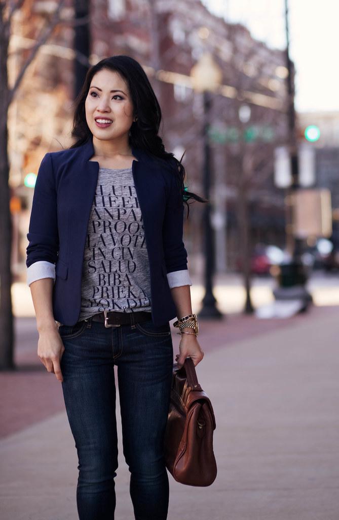 cute & little blog | navy blazer, j. crew cheers statement tee, rag & bone skinny jeans kensington, leopard pumps casual outfit
