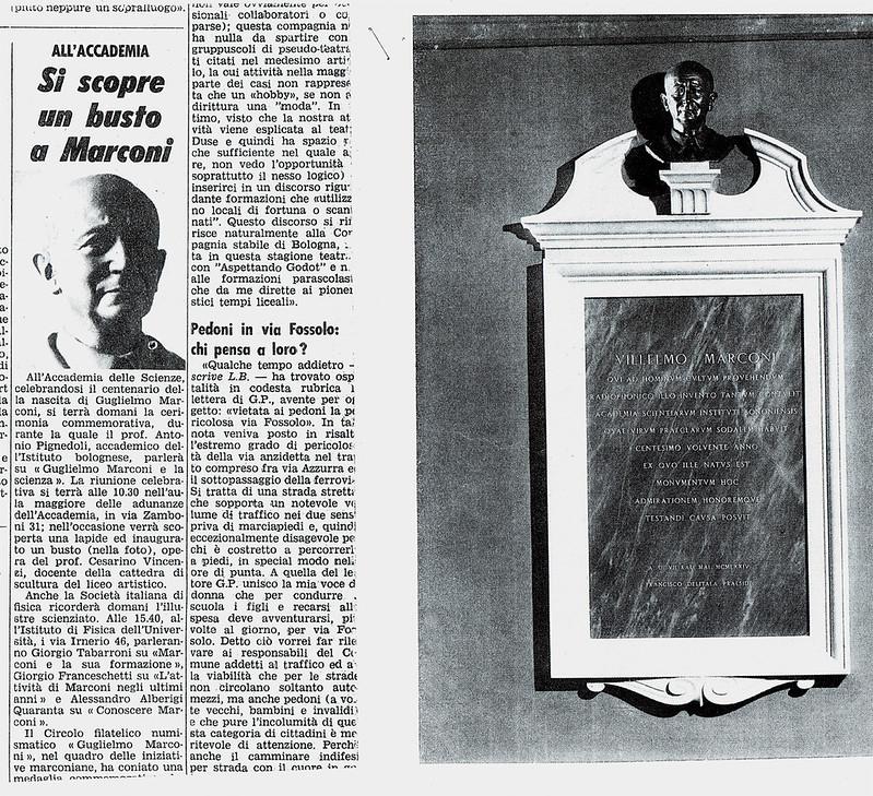 articolo giornale sul monumento a marconi eseguito da vincenzi cesarino