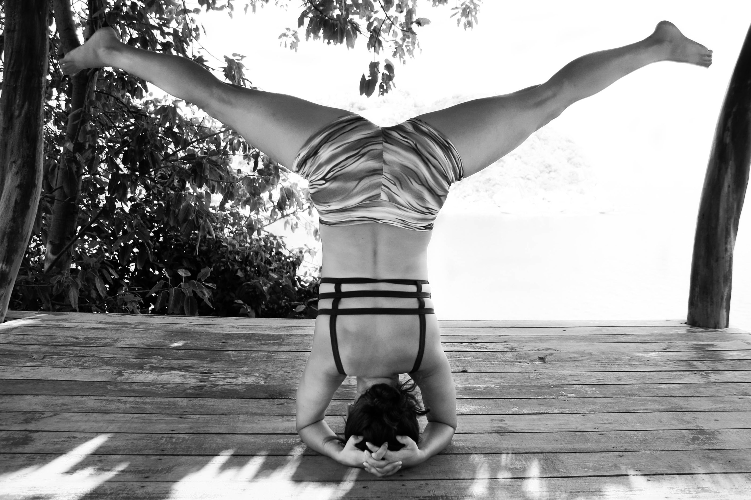 Salamba Sirsasana (Supported Headstand) with variation B&W