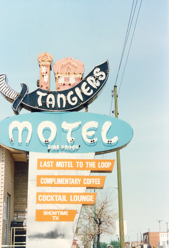 The old roadside Tangiers Motel neon sign on South Archer Avenue. (Gone.)  Chicago Illinois.  May 1986. by Eddie from Chicago