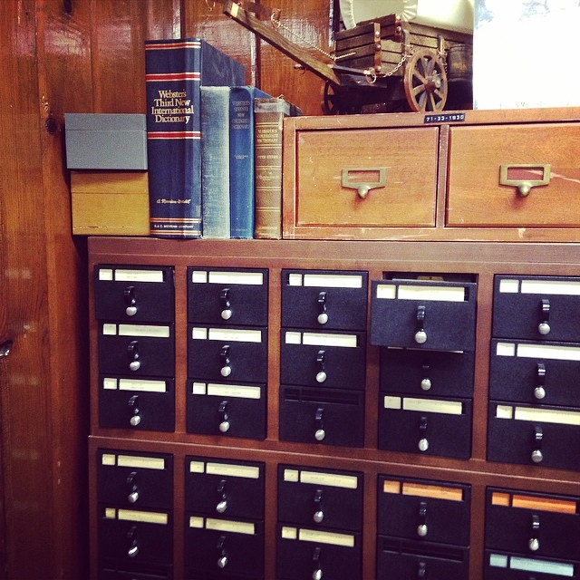 That meme about prehistoric googling? It's real. #45thinfantry #museum #library #deweydecimal #cardcatalog.