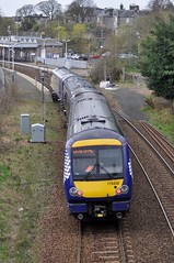 Scotrail saltire liveried 170426 arrives at Dunfermline Town with the 09:38 Glenrothes with Thornton to Edinburgh Waverley....
