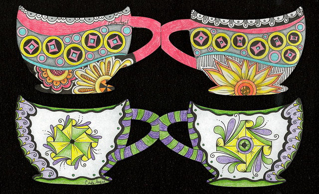 Tea cups with tangled patterns by Cindy Angiel
