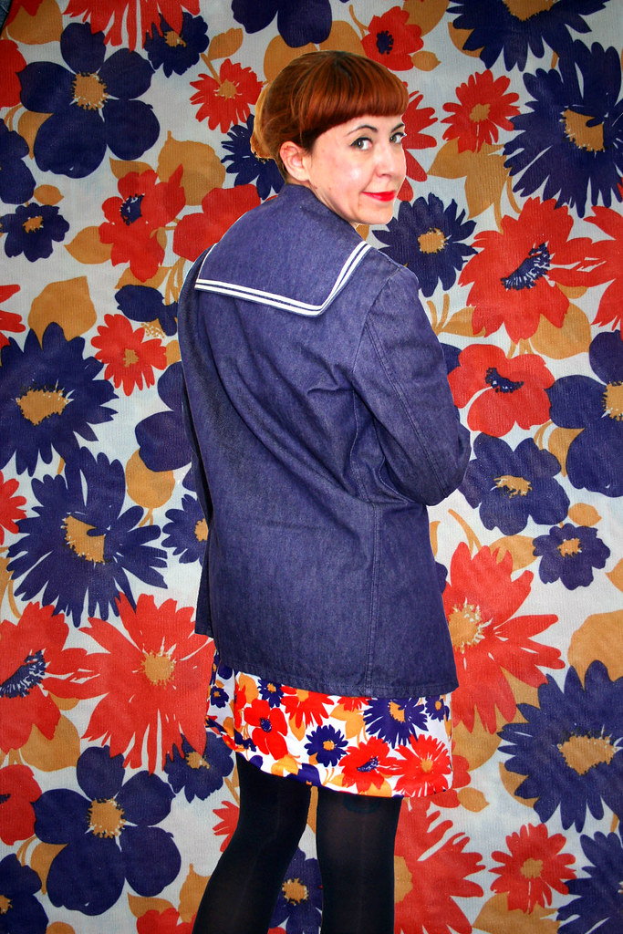 Vintage 60's dress - florals and sailor collar jacket