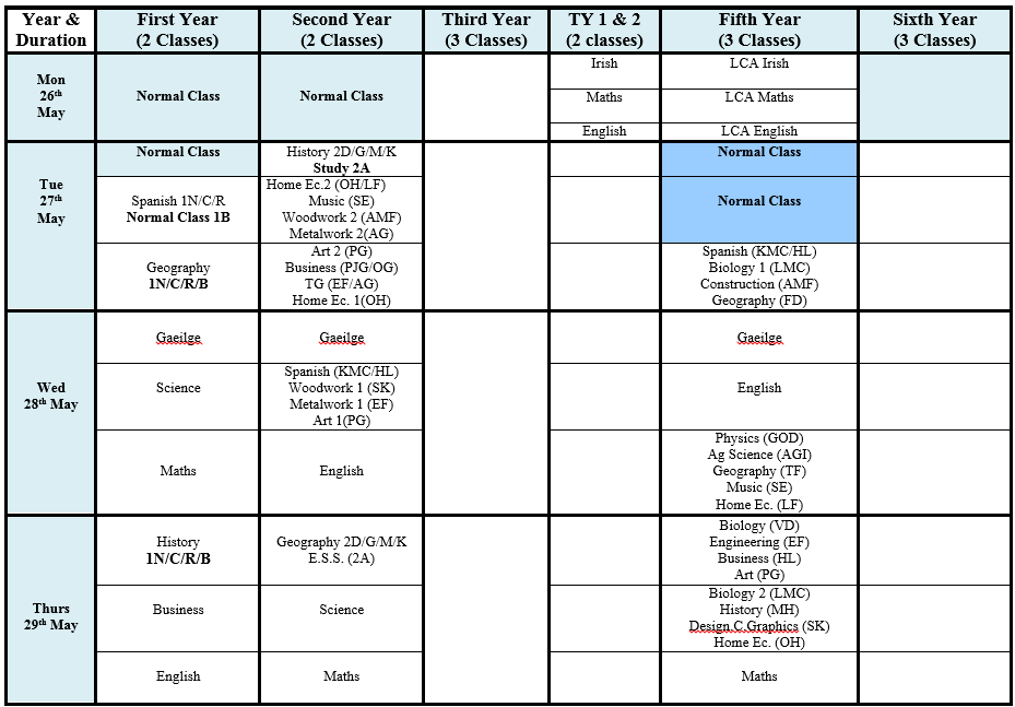 summerExamTimetable2014
