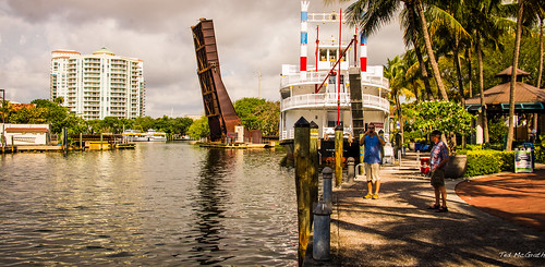 reflection water canal florida streetscene walkway fortlauderdale drawbridge ftlauderdale riverwalk newriver waterreflection linearpark tedsphotos